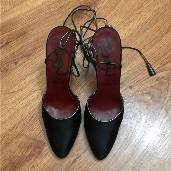 28cfebf0169 Yves Saint Laurent Shoes | Ysl Satin Wrap Around Pumps | Poshmark